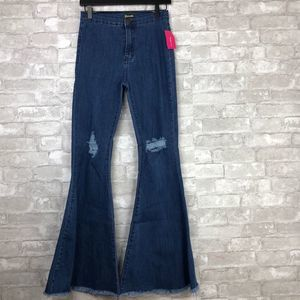 Love Culture Daisy Distressed Bell Bottom Jeans